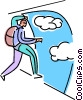 Skydiver ready to jump Vector Clip Art graphic
