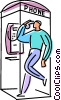 Man talking in phone booth Vector Clipart picture