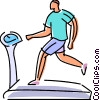 Man running on treadmills Vector Clipart illustration