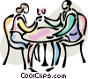 Vector Clipart picture  of a Couple toasting
