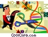 Scientist cutting DNA strand Vector Clip Art image