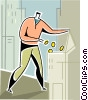man making money deposit Vector Clipart illustration