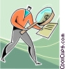 Vector Clipart graphic  of a businessman examining a