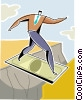 Vector Clipart picture  of a man crossing a ravine using