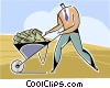 Vector Clipart picture  of a businessman with a wheelbarrow