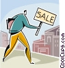 Vector Clip Art picture  of a businessman with a sale sign
