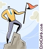 man reaching the summit with flag Vector Clipart graphic