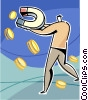 Vector Clipart illustration  of a magnet collecting coins