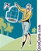Vector Clipart illustration  of a Woman releasing a bird from