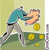 Vector Clip Art image  of a Man emptying his piggy bank