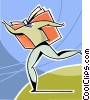 Vector Clip Art image  of a Man flying with knowledge book