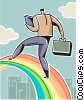 Vector Clip Art image  of a Businessman climbing a rainbow