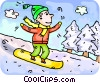 Vector Clip Art graphic  of a Boy snowboarding