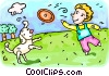Vector Clip Art graphic  of a boy playing Frisbee with his