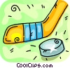 Vector Clipart graphic  of a hockey stick and puck
