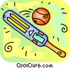 Vector Clipart picture  of a Cricket bat and ball