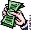 Vector Clip Art graphic  of a Hand grasping cash