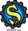 Vector Clip Art picture  of a Gear and dollar sign