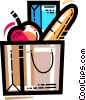 Vector Clip Art graphic  of a grocery bag with an apple and