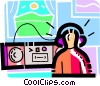 boy listening to music Vector Clip Art picture