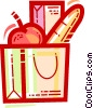 grocery bag with an apple and bread Vector Clipart picture