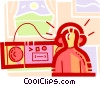 Vector Clip Art image  of a boy listening to music