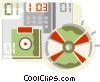 Vector Clip Art image  of a cd and a diskette