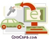 Vector Clip Art graphic  of a online shopping concept