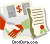 shaking hands over a contract Vector Clipart illustration