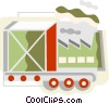 Vector Clip Art graphic  of a shipment on a conveyor belt