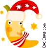 Moon with Santa's hat Vector Clipart graphic