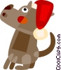dog with Santa's hat Vector Clip Art graphic
