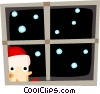 Vector Clip Art picture  of a Santa Claus at the window