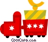 Vector Clip Art image  of a toy train carrying a present
