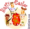 Easter scene Vector Clipart illustration