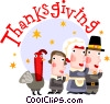 Vector Clipart graphic  of a Thanksgiving scene