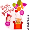 Birthday scene Vector Clip Art graphic