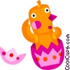 Vector Clip Art image  of a Easter Chicks with Eggs