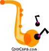 Vector Clip Art graphic  of a Saxophones