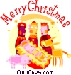 Vector Clipart illustration  of a Wise men with baby Jesus and