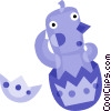 Easter Chicks with Eggs Vector Clipart image