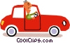Vector Clipart graphic  of a man driving a car