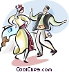 Traditional Greek dancing Vector Clipart picture