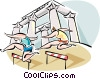 Vector Clip Art graphic  of a People jumping hurdles