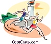 Vector Clipart graphic  of a People running race