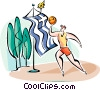Vector Clip Art graphic  of a basketball player