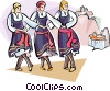 Vector Clip Art graphic  of a dancing in front of Meteor Monasteries