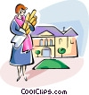 Woman carrying baguettes Vector Clipart illustration