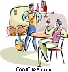 Vector Clip Art image  of a Frenchmen drinking wine