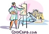 artist painting Louvre, Paris Vector Clip Art image